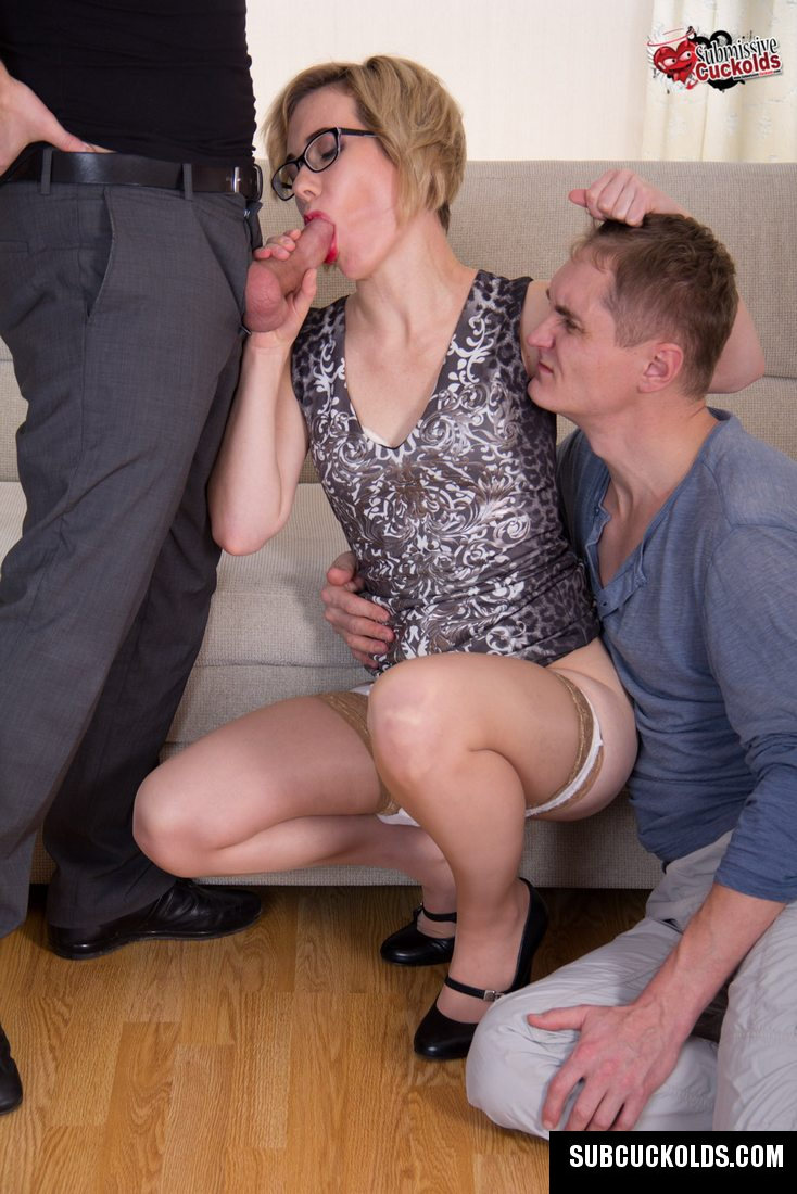 Submissive Cuckold Husband looks like the Wife is Making
